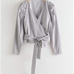 & Other Stories Striped Puff Sleeve Wrap Top 6